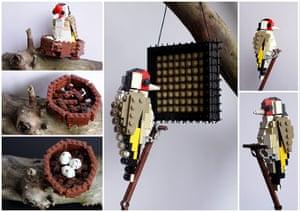 Lego birds: Goldfinch made fomrr Lego by Thomas Poulsom