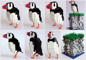 Lego birds: Puffin made form Lego by Thomas Poulsom