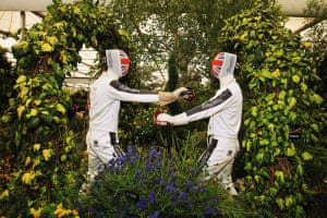 Chelsea flower show: Fencing at the Hillier Nurseries exhibit