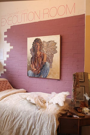 Art Haus project: A painting by Lorna May Wadsworth on the wall of the ArtHaus bedroom