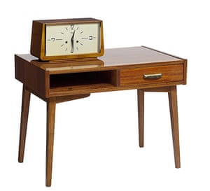 Soviet interior style: 1960s small table with drawer and horologe clock