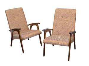 Soviet interior style: Pair of armchairs by V.Kozulin,N.Manucharova,V.Savchenko