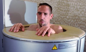 Footballer Franck Ribery sits in a cryotherapy chamber
