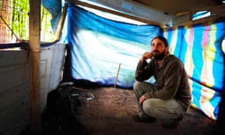 Phil Inkley in an abandoned den in Hampshire