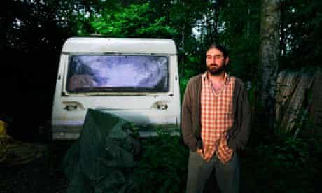 Phil Inkley outside his caravan in Hampshire
