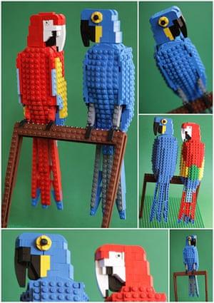 Lego birds: Hyacinth macaw