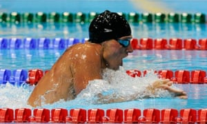 Swimmer and current world media crush Ryan Lochte in the Olympic 400m individual medley
