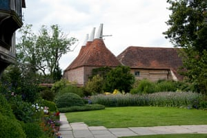 Great Dixter: An exterior view of the Oast House and Great Barn at Great Dixter