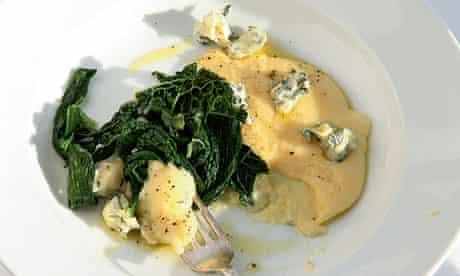 Polenta, blue cheese,greens