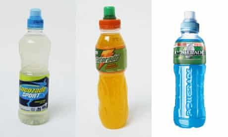 Bad science? … bottles of Lucozade, Gatorade and Powerade.