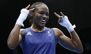 Nicola Adams celebrates victory in the women's boxing flyweight final at the London 2012 Olympics
