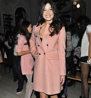 Daisy Lowe in a pink coat