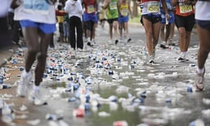 Water bottles on the ground during a marathon
