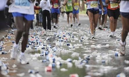 Water bottles on the ground during a marathon