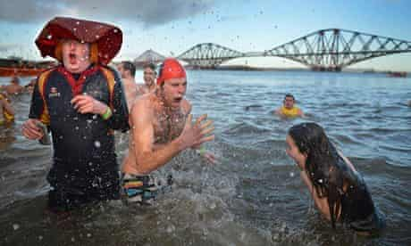 More swimmers at the Loony Dook.