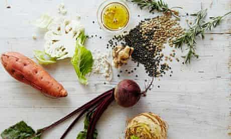 10 best root veg 550px: Winter vegetable stacks with lentils and horseradishdressing