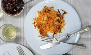 Rosti without the egg….Susanna Booth's root veg  rosti. Photograph: Jill Mead for the Guardian