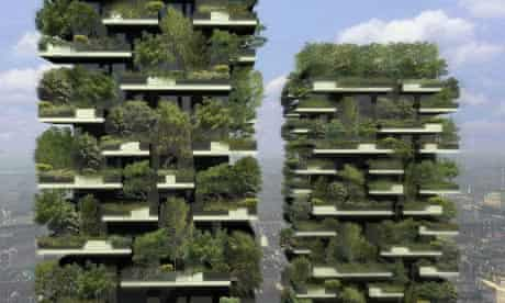 An artists' impression of the Bosco Verticale skyscraper in Milan