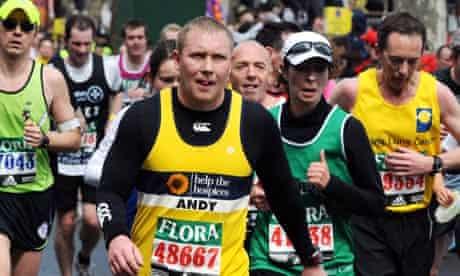 Charity runners at the London marathon Charity runners at the London marathon