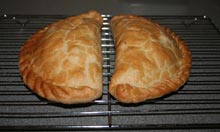Billy Deakin's pasties cooling on the oven shelf