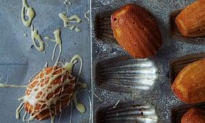 Orange madeleines with honey-butter glaze