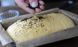 dough with sprinkled sesame seeds