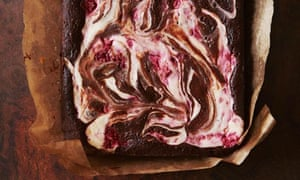 Dark Chocolate Brownies with Raspberry Goat's Cheese Swirl
