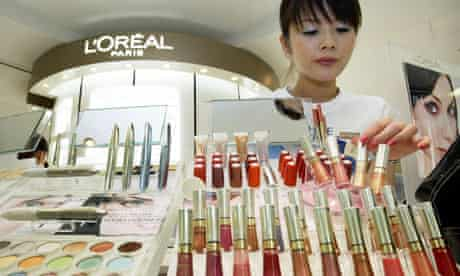Beauty counter in a department store