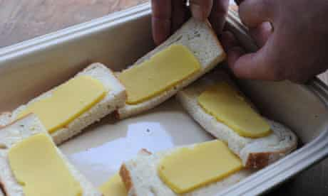 sliced marzipan on buttered bread
