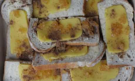 nutmeg sprinkled on top of buttered bread