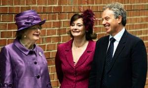 Margaret Thatcher, Cherie Blair and Tony Blair