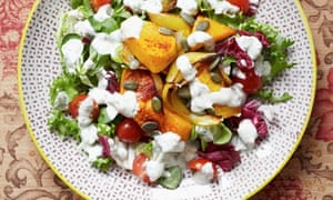 Spicy roasted butternut squash salad with tahini and yoghurt dressing