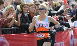 Nell McAndrew finishing the 2012 Virgin London Marathon