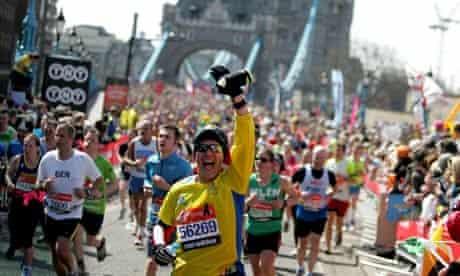 Sunshine and smiles at the London Marathon yesterday