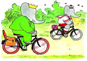 Babar the Elephant: Babar the elephant on a bike