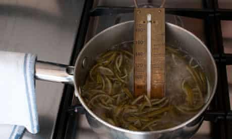 peel and drained liquid in a deep saucepan