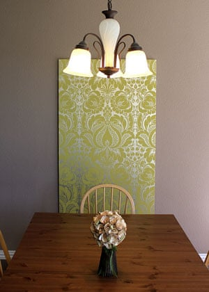 Linda Feldman's wallpapered board