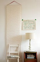 Hannah Bullivant's wallpaper hung by ribbon