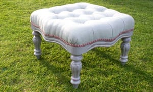 Another finished and reupholstered stool
