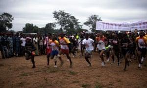 The start of the Sierra Leone marathon