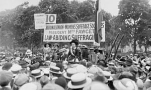 Millicent Fawcett at the rally in Hyde Park