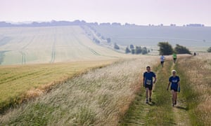 Nowhere to hide from the sun on the long, hot drag up to Uffington on the Race to the Stones
