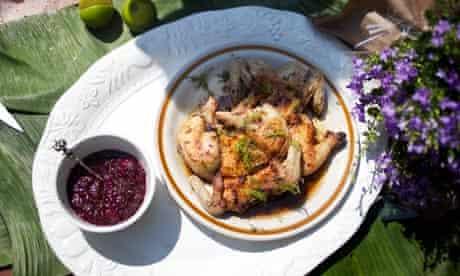 Get togethers: poussin tabaka with tkemali plum sauce
