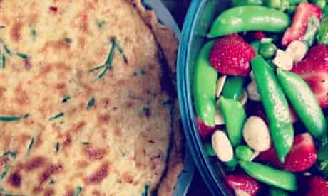 Crab tart with pea and strawberry salad