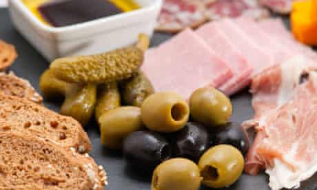 Meat and olive platter
