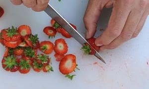 Dan's strawberry mascarpone custard crumble: step 1