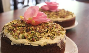 Rose and pistachio cake at 78 Cafe Bar in Glasgow