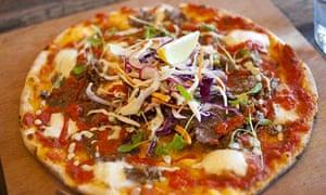 Lamb doner kebab pizza at Artisan