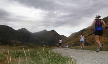Running around Moke Lake in Queenstown, New Zealand