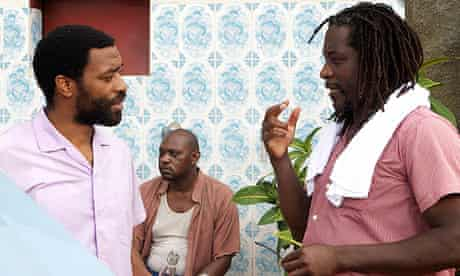 Biyi Bandele (right) with Chiwetel Ejiofor on the set of Half of a Yellow Sun